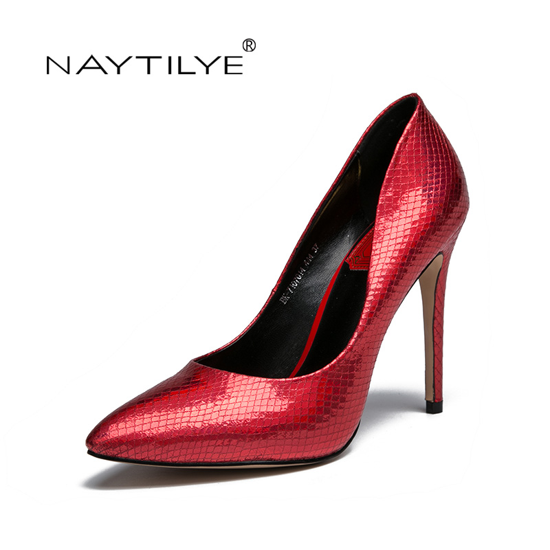 High Heels der Frauen pumpt 2017 beiläufige Lace-Up runde Kappe Frühlings- / Herbstfrau Schuhe rotes schwarzes Silber 36-41 freies Verschiffen NAYTILYE