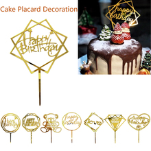 Happy Birthday Cake Topper Gold Glitter Acrylic Love Flag For Baby Party Wedding Decoration