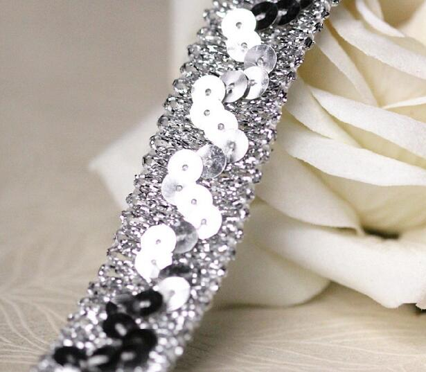 2CM Wide HOT sequin Silver Embroidery flower lace fabric trim ribbon DIY sewing applique collar cord wedding dress guipure decor in Lace from Home Garden