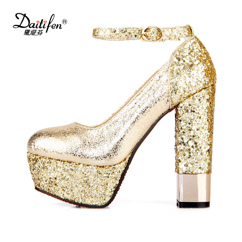 Daitifen Women High Heel Pumps Ankle Strap Heels Bling Woman Chunky Pumps Sexy Glitter Wedding Shoes Ladies Platform Heels Shoes aidocrysta bling bling crystal high heel shoes glitter blue platform rhinestone wedding shoes women