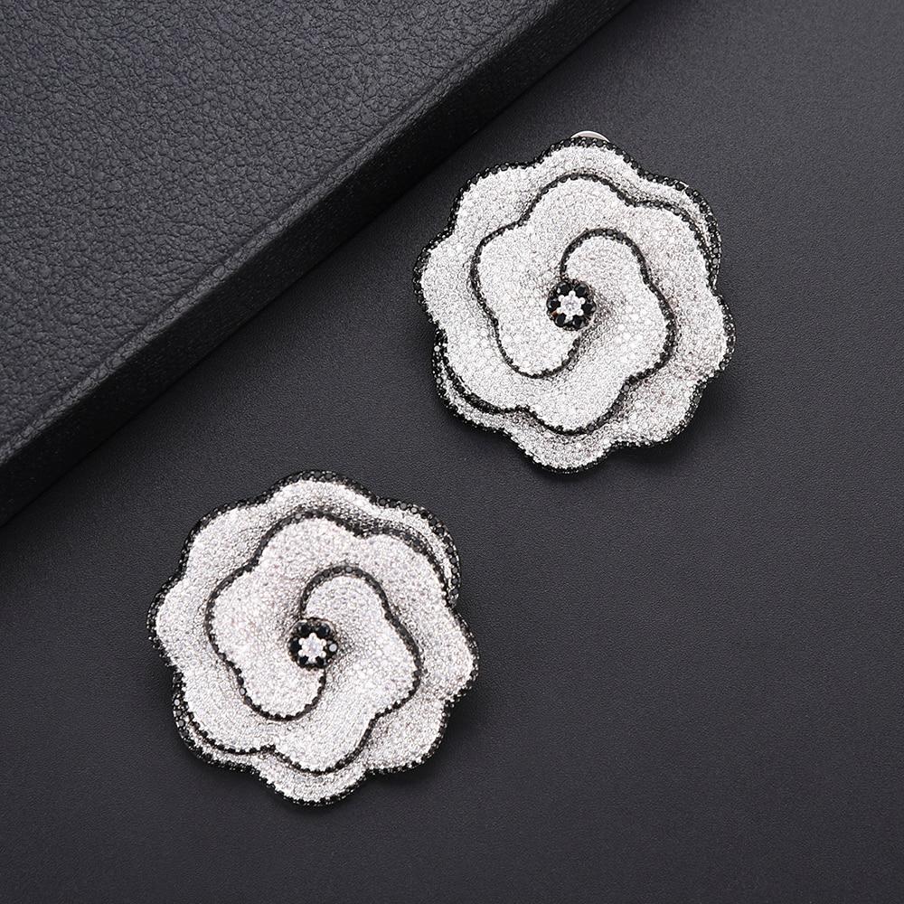 Fashion Flower Shape AAA Cubic Zirconia Push Back Stud earrings fashion jewelry For Women aretes de mujer modernos 2018