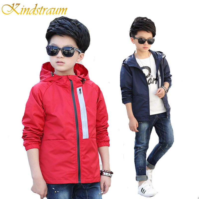 Kindstraum 2017 New Windbreaker Jacket Boys Ūdensnecaurlaidīgs Hooded Casual Bērnu apģērbs Kids Sports Outwear & Coats Spring, MC430