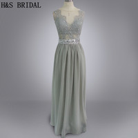 Real Photo Vestidos Grey Lace Prom Dress Long Beading Belt See Through Lace Backless Evening Gown