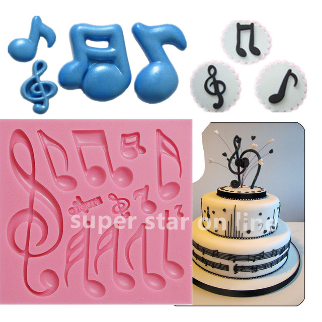 Music Note Collection Silicone Mold Fondant Cake Stand Candy ...