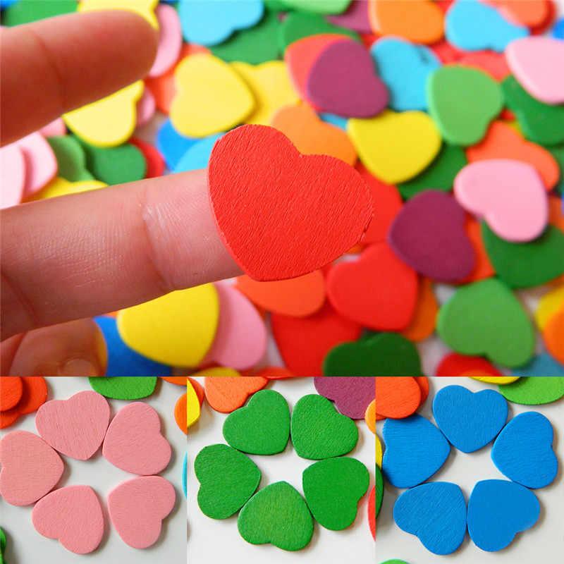 20 יח'\סט עץ לב חרוזים צבוע צבעוני לב צורת חרוזים 15mm * 20mm ווג DIY לילדים תכשיטים ביצוע