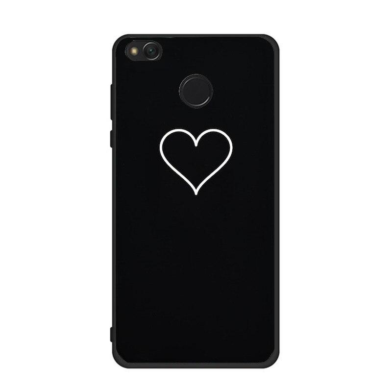 Artistic Abstract Line Case For Xiaomi Redmi 4A 4X Note4 Black Heart Case For Redmi 5A A1 Phone Coque Accessories