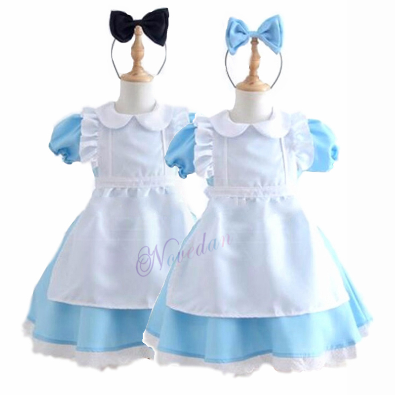 Halloween Kids Girls Anime Alice In Wonderland Blue Party Dress Alice Dream Child Sissy Maid Lolita Cosplay Costume