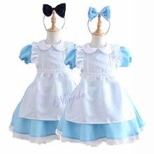 ad834b93b Halloween niños niñas Anime Alicia en el país de las Maravillas vestido de  fiesta azul Alice
