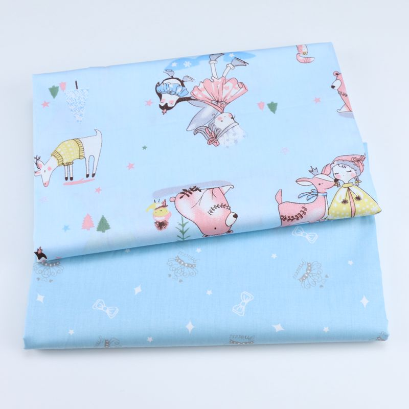 100% Twill Cotton Fabric For Baby Girl Dress Tissus au Metre Diy Sewing Tecido Telas para patchwork Blue Little princess crown