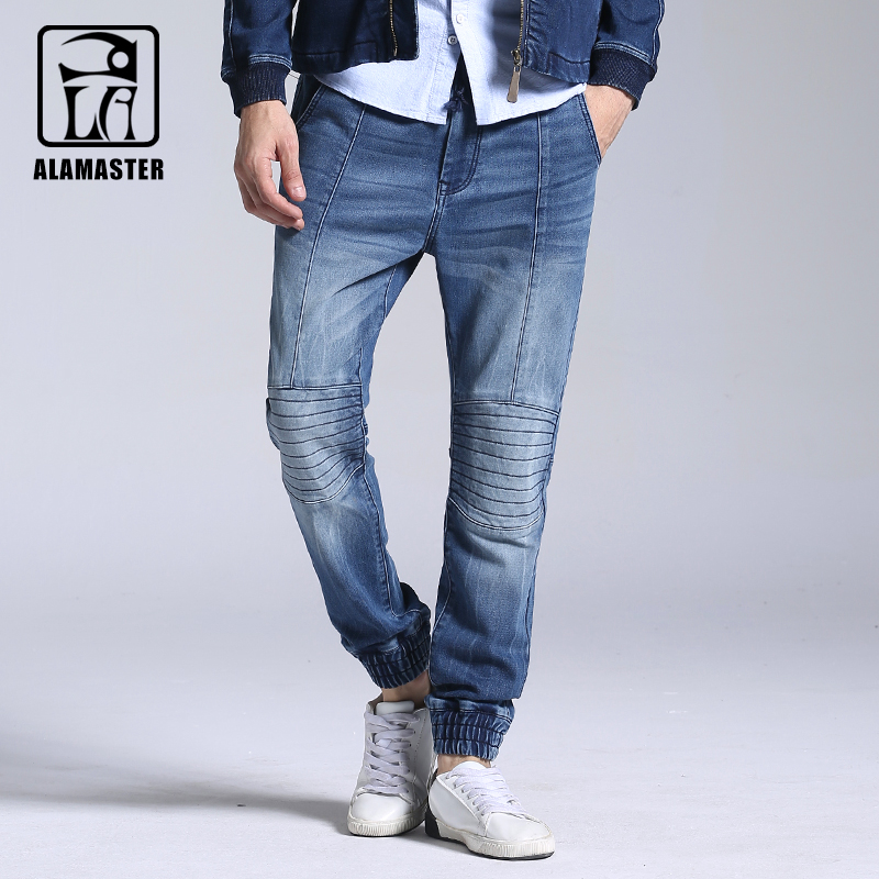 A LA MASTER2017 New Autumn and Winter Mens Knit Stretch Jeans Feet Elastic Waist Jeans Large Size Mens Trend Pants