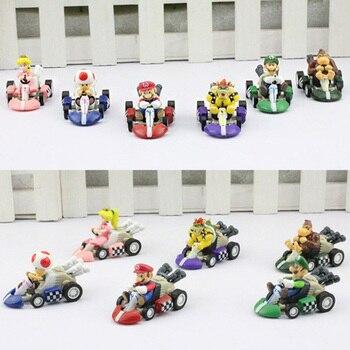 6 шт./компл. Super Mario Bros автомобиль Kart тянуть назад Автомобили Йоши Марио Luigi Koopa ПВХ Фигурки игрушки куклы классические Karts игрушка бесплатная д...