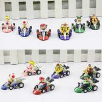 6 teile/satz Super Mario Bros Auto Kart Pull Back Autos Yoshi Mario Luigi Koopa PVC Figuren Spielzeug Puppen Klassische Karts spielzeug Freies Verschiffen