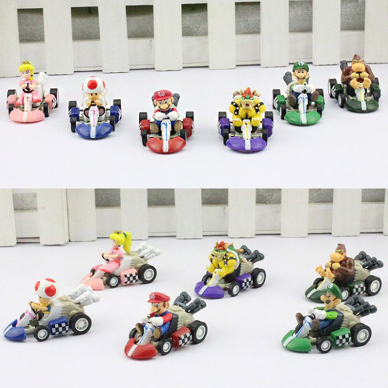 цена 6Pcs/Set Super Mario Bros Car Kart Pull Back Cars Yoshi Mario Luigi Koopa PVC Figures Toys Dolls Classic Karts Toy Free Shipping онлайн в 2017 году