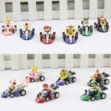 6 pçs/set Super Mario Bros Carro Kart Pull Back Carros Karts Mario Luigi Yoshi Koopa PVC Figuras Brinquedos Dolls Clássico brinquedo Frete Grátis
