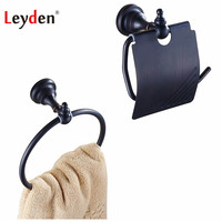 Leyden ORB Brass 2pcs Bath Hardware Sets Wall Mounted Classic Toilet Roll Paper Holder Towel Ring Holder For Bathroom Accessory