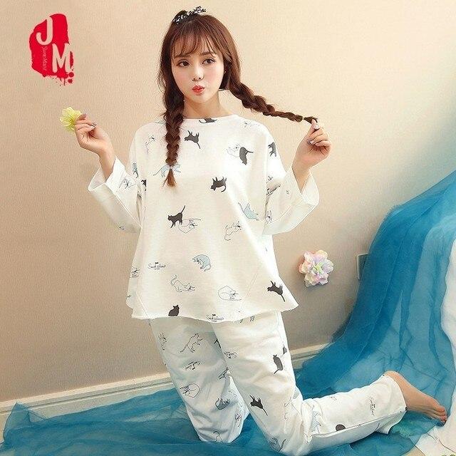 2016aed388 2018 Pyjamas Women Winter Suit Pyjama Femme Coton Long Sleeve Sexy Pajamas  Large Size Round Neck Female Pajama Sets Homewear XXL