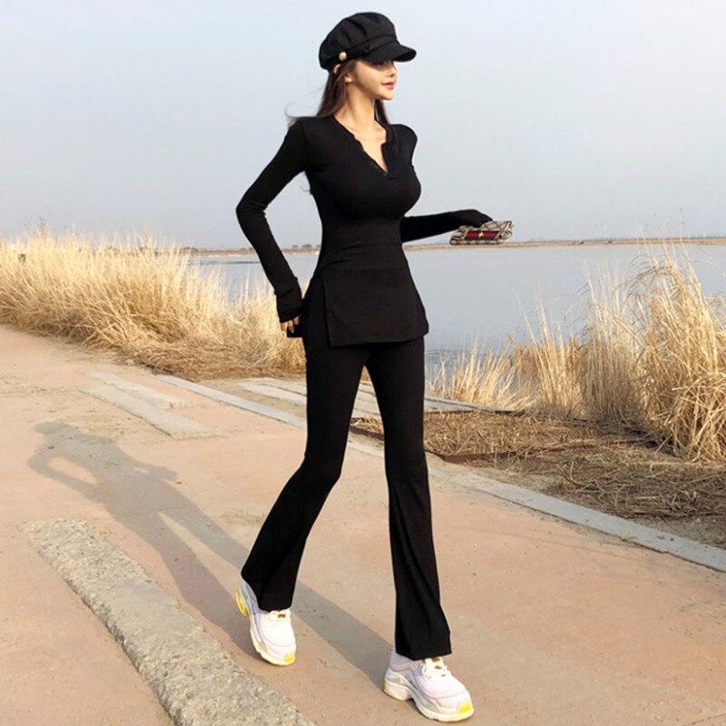 2018 Promotion coton plein col en v nouveau costume femme mince décontracté casual deux pièces chandail large jambe évasée pantalon deux ensembles de