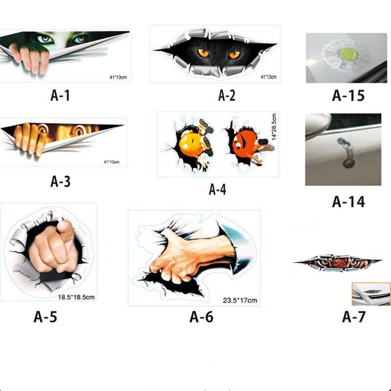 16 Type Lifelike 3D Car Sticker Creative Modified Stickers Eyes Peeking Monster Waterproof Car Styling Sticker Decoration