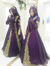 Purple and Gold Gelinlik Muslim Evening Dress With Hijab Vintage Turkish Robe de Mariee Avondjurken Formal Evening Prom Gowns