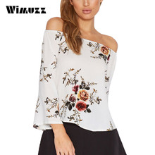 Wimuzz Off Shoulder Sexy Tops Blouse Women Summer 2017 Flare Sleeve White Casual Shirt Slash neck Blouses