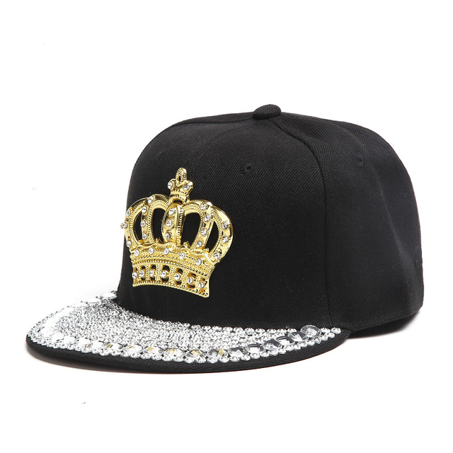 Crown Hip Hop Snapback Baseball Caps with Rhinestone for Women Spring Bone Hat Punk Adjustable Black Outdoor Casual Cap