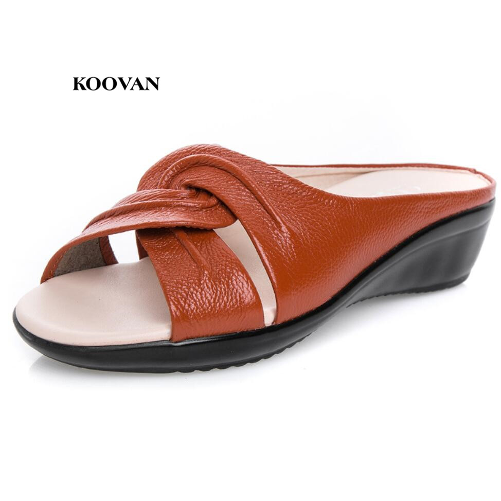 Koovan Women Sandals 2018 Summer Mama Cool Slippers Genuine Leather Short Heeled Bottom Large Size 43 Mother Women's Shoes the new type of diamond mother sandals lady leather fish mouth flowers with leather high heeled shoes slippers women shoes