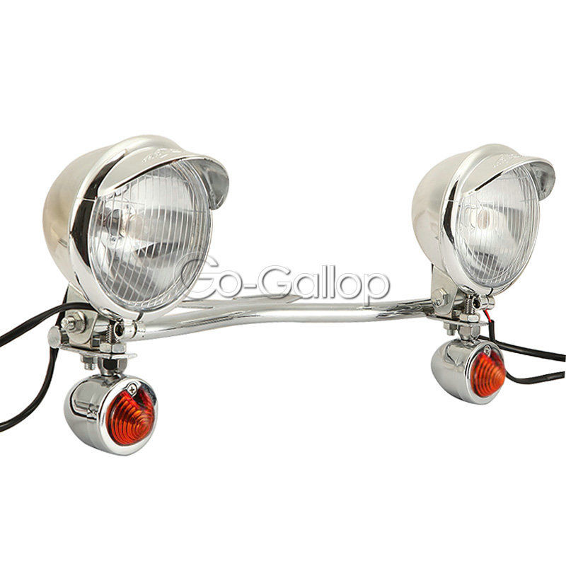 Chrome Universal Motorcycle Driving Passing Bar Turn Signals Spot Light For Honda Dyna Softail Sportster Touring  harley davidson headlight price