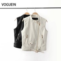 VOGUE!N New Womens Ladies Casual Fashion PU Soft Faux Leather Sleeveless Stand Collar Vest Waistcoat White/Black 2 Colors