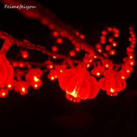 Novelty 100LED Connectable Festoon Party Red Lantern String Lamps Led Christmas Lights Fairy New Year Garden