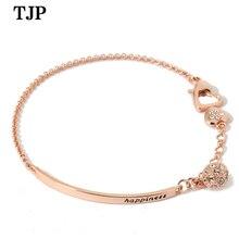 Classic simple letter chain bracelet Popular zircon fashion rose gold jewelry    stainless steel jewelry  charm bracelet цена в Москве и Питере