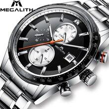Megalith Mode Chronograp Horloge Analoge Quartz 24 Uur Datum Horloges Man Waterdichte Mannen Sport Volledige Stalen Polshorloge klok