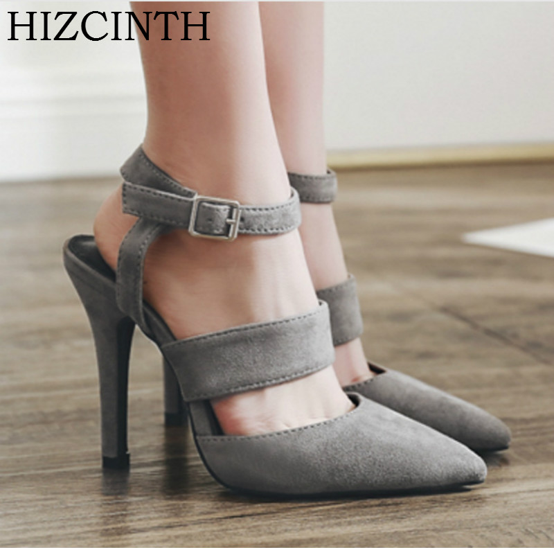 HIZCINTH 2018 Summer Sandal For Women Buckle Strap Pointed Toe Suede High Heels Sandals Gladiator Sandals Shoes Woman Pumps 2015 summer new rome sweety shining buckle belt women sandal high heels weomen sandal breathable comfort women sandals e937