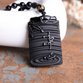 Natural Obsidian necklace pendant jewelry counter genuine wholesale supply of male and female mind nothing Pendant