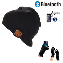 Christmas gift Touch Screen Gloves Warm Beanie Hat Wireless Bluetooth Cap Bluetooth Headset Speaker Mic Smart hats music cap