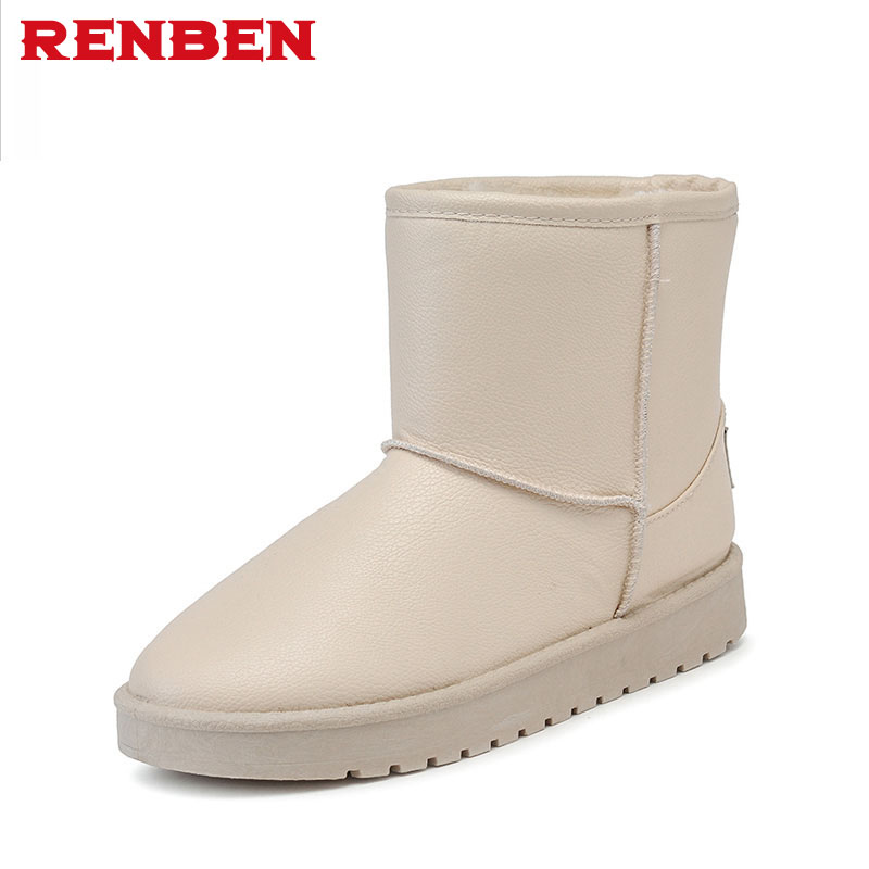 Snow Boots Women Winter pu Leather Mid Calf Boots Warm Australia Botas Nieve Sheepskin Classi new fashion winter snow boots women imitation fox fur snow boots mid calf winter shoes boots for women australia botas bls 056