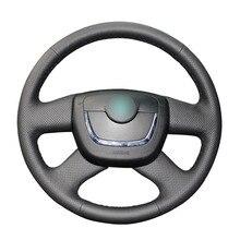 Сшитый вручную черный чехол рулевого колеса автомобиля из искусственной кожи для Skoda Octavia 2009 2013 Citigo 2011 2012 Roomster Fabia