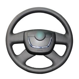 Image 1 - Hand stitched Black PU Artificial Leather Car Steering Wheel Cover for Skoda Octavia 2009 2013 Citigo 2011 2012 Roomster Fabia