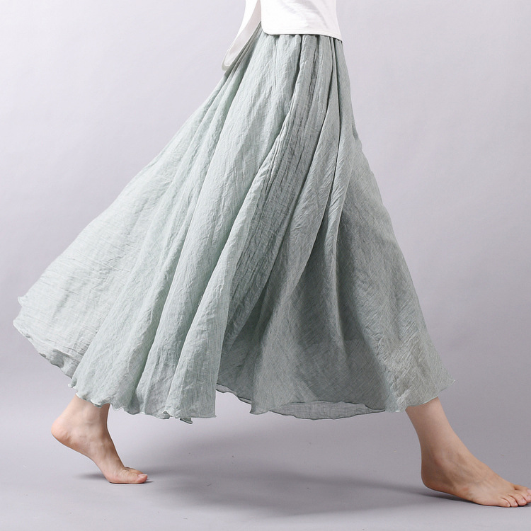 Sherhure 19 Women Linen Cotton Long Skirts Elastic Waist Pleated Maxi Skirts Beach Boho Vintage Summer Skirts Faldas Saia 5