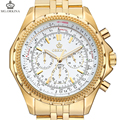 ORKINA Watches Men Quartz-watch Stainless Steel Case White Dial Gold Watches Relogio Masculino