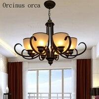 Американский старинная железная люстра гостиная спальня лампа Европейский классический дизайн простой стекло люстра бесплатная доставка