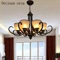 Américain Antique fer lustre salon chambre lampe européen classique design simple verre lustre livraison gratuite|Lampes à suspension| |  -