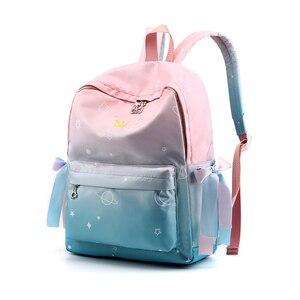 Image 3 - 2018 СКИОНЕ Цвет градиента    Школьные водонепроницаемые  многофунгционнальнные  рюкзаки для подростков  девочек  путешествий