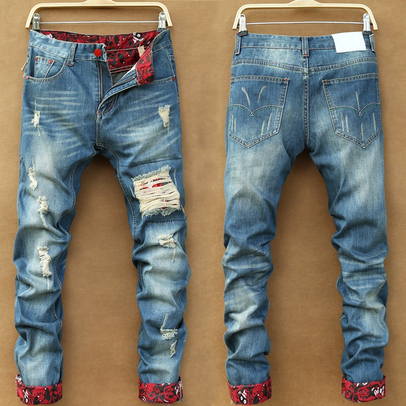 New arrival fashion printing male personality distressed denim pants stylish broken hole scratched casual jeans trousers