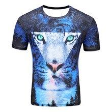 Men Shirts Short Sleeve Cotton Rocksir O-Neck Personalized Tshirt 3D Water Printed T Shirt Men T-Shirt Swag Clothes Star Tiger