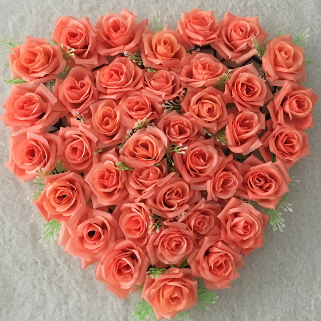 Pretty Orange Heart Shape Rose Flowers Suctions Behind Wedding Car