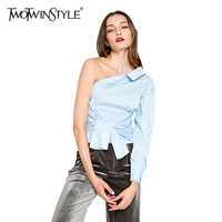 TWOTWINSTYLE 2017 Summer Women Sexy One Shoulder Skew Collar Shirts Blouses Female Irregular Top Two Wear