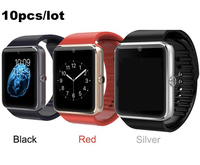 10pcs Free DHL GT08 Smart Watch Pedometer Call Reminder Bluetooth Smart Watch With SIM Card Slot