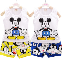 Baby boy 2020 new Mickey clothing suit summer cotton suit set baby boy Minnie Mickey vest + pants children's clothing anlencool free shipping attitude baby boy valley korean version of the leisure suit baby boy clothing set spring baby clothing