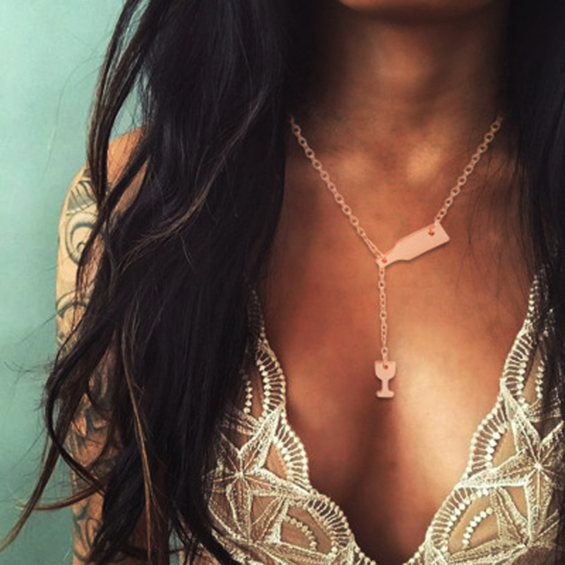Vintage Antique Gold Silver Bottle Goblet Pendant Necklaces Bohemia Chokers Necklace Collar for Women Jewelry 6346
