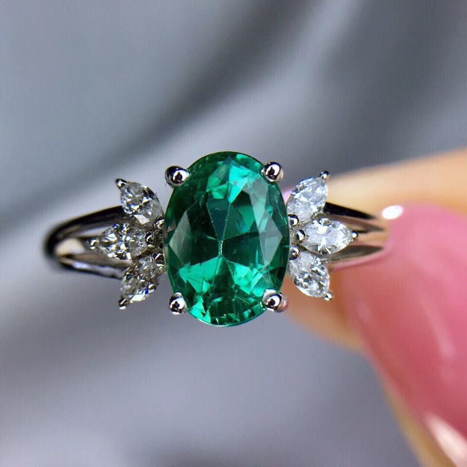 Fine jewelry Colombian AAA Lab Created Emerald Engagement Wedding Ring in Solid 14k White Gold Support for Custom Jewelry fine jewelry colombian aaa lab created emerald engagement wedding ring in solid 14k white gold support for custom jewelry